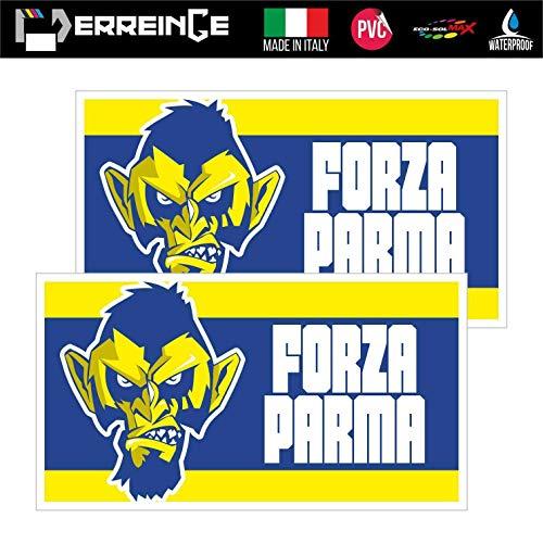 erreinge Sticker x2 Parma Ultras Supporters Bandiera Adesivo Sagomato in PVC per Decalcomania Parete Murale Auto Moto Casco Camper Laptop - cm 35