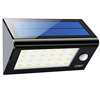 Criacr Solar Security Lights, 24 LED Motion Sensor Lights, Solar Powered Lights with 4 Intelligient Modes, IP65 Waterproof & Auto On/ Off for Garden, Patio, Deck, Yard, Home, Stairs