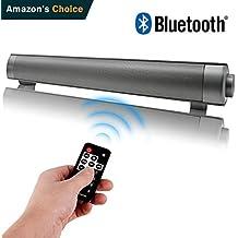 Altavoz Bluetooth,Barra de Sonido Inalámbrica con Micrófono Incorporado y Función Manos Libres, con Entrada AUX / Tarjetas TF, Alta Calidad de Sonido para PC Sobremesa / Laptop, Smartphones iPhone/ Samsung/ Huawei/ Xiaomi/ iPod/ iPad/ Tablets y MP3