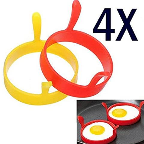Free Shipping,Malloom 2017 New 4Pcs Silicone Round Egg Rings Pancake Mold Ring W Handles - Nonstick Fried