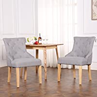 The Home Garden Store Set of 2 Premium Linen Fabric Dining Chairs Scoop Button Back Light Grey