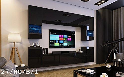 exklusive wohnwaende HomeDirectLTD Future 27 Moderne Wohnwand, Exklusive Mediamöbel, TV-Schrank, Schrankwand, TV-Element Anbauwand, Garnitur, Große Farbauswahl (RGB LED-Beleuchtung Verfügbar) (27_HG_B_1, Weiß LED)