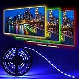 Simfonio LED TV Hintergrundbeleuchtung, 1M RGB USB IP65 Wasserfest LED Streifen mit Fernbedienung und 16 Farben, LED Strip Für 40 bis 60 Zoll TV Bildschirm, Desktop, PC, Party usw