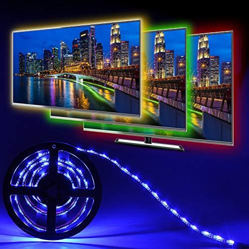 Simfonio LED TV Hintergrundbeleuchtung, 1M RGB USB IP65 Wasserfest LED Streifen mit Fernbedienung und 16 Farben, LED Strip Für 40 bis 60 Zoll TV Bildschirm, Desktop, PC, Party usw -