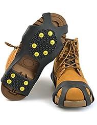 10Acero studs cubrir zapatos tacos de tracción para botas de nieve antideslizante estirable antideslizante de color negro picos de hielo Pinzas para calzado, mediano