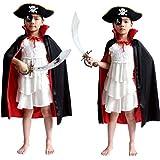 Chiguo Halloween Wicca Capa de Tippet Cosplay Disfraz Pirata Vampiro Medieval Mantón Robe para Mujeres Hombres Fiesta Disfraces para de Adultos y Niños Halloween Tela de Doble Capa (Incluye Tippet, Sombrero de Pirata, Gafas de Protección, Cuchillo) (Niños)