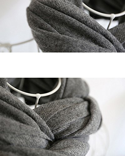 SaiDeng Echarpe Longue Douce Et Chaude Surdimensionnée Automne/Hiver Pour Femme Foulards Châle Long Etole Filage De La Laine Cadeau Noël Gris