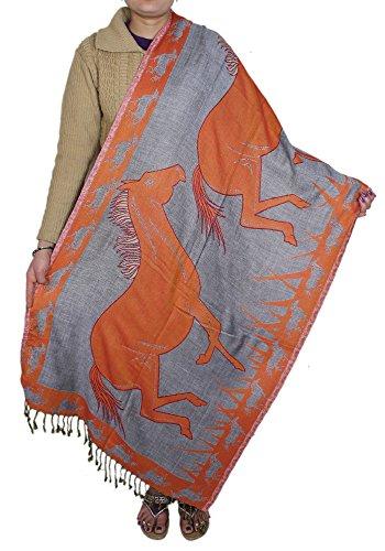 Donne di modo sciarpa calda primavera arancione - indiano di seta scialle cavallo rubato 214 x 76 cm