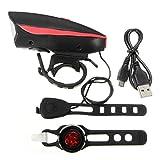Kenthia wasserdicht, super hell, USB, wiederaufladbar, LED-Scheinwerfer, mit Horn und taillight Set