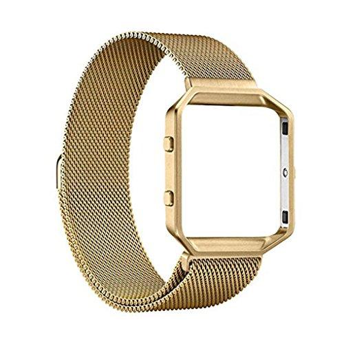 Providethebest Edelstahl-Armband Ersatz Blacelet Kette Intelligente magnetische Schleife Uhr-Gurt-B¨¹Gel mit Rahmen f¨¹r Fitbit Gold