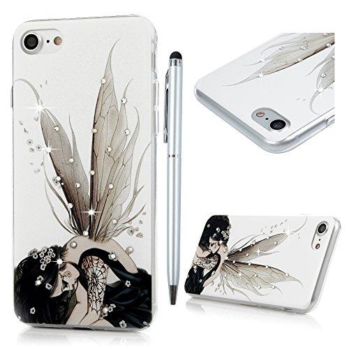 iPhone 7 Custodia Trasparente Glitter Bling Case Cover Rigida Plastica Hard - MAXFE.CO 3D Fatto a mano Cristallo Diamante Plastica PC Duro Protettiva - Fairy della Farfalle
