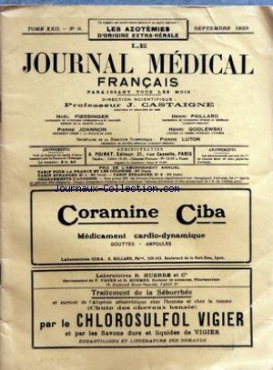 JOURNAL MEDICAL FRANCAIS (LE) [No 9] du 01/09/1933