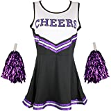 Cheerleader Fancy Dress Outfit Uniform High School Musical Costume With Pom Poms 6 Colours - 5 Sizes to Choose From