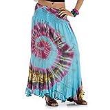 Langer Hippie Batik Gypsy Zigeuner Rock 36 38 40 42 S M (Türkis)