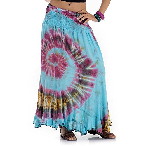 Von Tribal Kostüm Indien - Langer Hippie Batik Gypsy Zigeuner Rock 36 38 40 42 S M (Türkis)