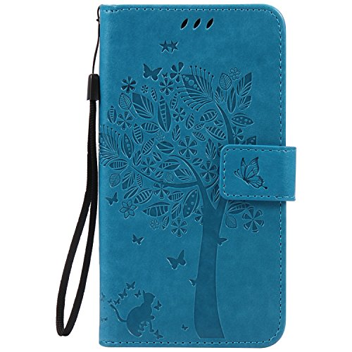 Cozy Hut Motorola Moto X Play Blau Hülle, Premium Leder Flip Case im Bookstyle Folio Cover Kartenfächer Magnetverschluss und Standfunktion Leder Schale Etui für Motorola Moto X Play - blau