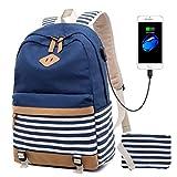 Leinwand Streifen Rucksack passt 15,6'Laptop für Teenager Mädchen mit USB-Ladeanschluss und...