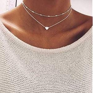 Damen Halskette mit kleinem Herz in Gold | Frauen Schmuck aus Edelstahl | Doppelkette für Mädchen mit Verschluss