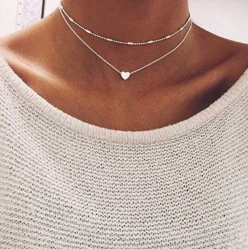 Damen Kette mit kleinem Herz in Silber | Frauen Schmuck aus Aluminium | Mehrreihige Halskette mit Box als Geschenk