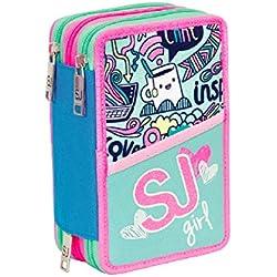ASTUCCIO scuola SEVEN - SJ GANG GIRL - 3 scomparti - pennarelli matite ecc.. Rosa Azzurro