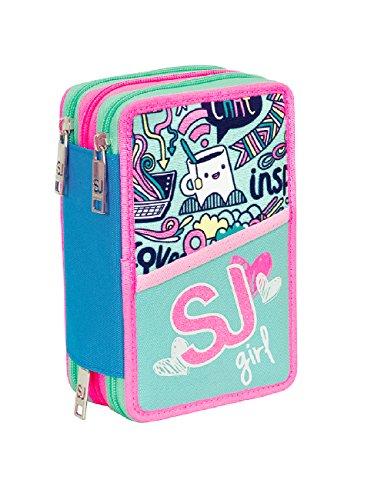 Estuche escolar 3 compartimentos SEVEN – SJ GIRL – 3 pisos – rosa azul – con lápiz, marcadores, boligrafos..