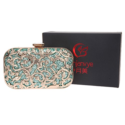 Bonjanvye Bird Print Purses and Handbags for Women Speacial Hand Clutch for Ladies Mint Mint