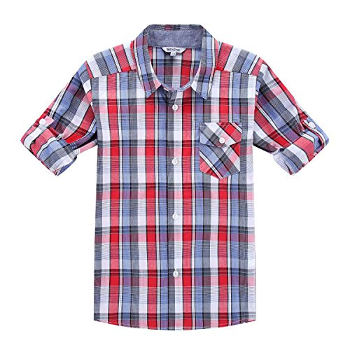 9eb5cd0a2a10 Bienzoe Jungen Baumwolle Plaid Aufgerollt Hülse Knopf Unten Hemd Rot Blau  Größe 9 10