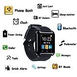 LaTEC Bluetooth Smart Uhr Smartwatch Fitness Armbanduhr Band Telefonuhr mit Pedometer Touchscreen für Android Smartphones (Schwarz) -