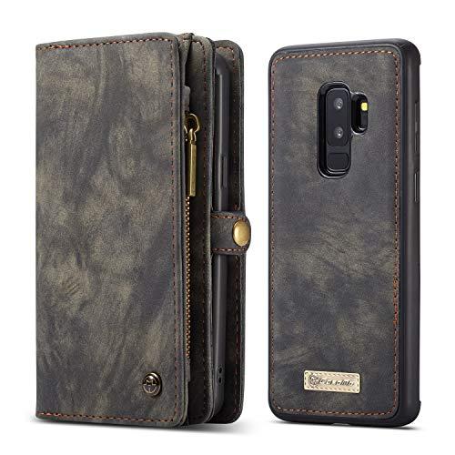 SITCO Samsung Galaxy S9 plus portefeuille en cuir flip cas détachable couverture arrière fermeture à glissière affaire aimant couverture arrière téléphone poche