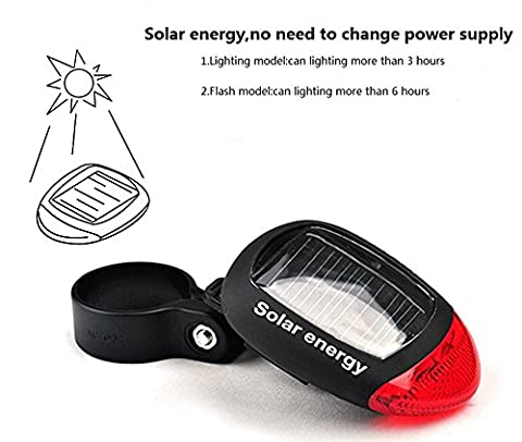 Bicyclette intéressante Bicyclette Énergie solaire LED Feu arrière arrière Lumière flash, couleur rouge