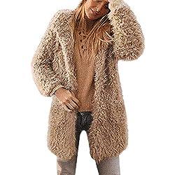 CICIYOMER Damas de Mujer Cálido Abrigo de Lana Artificial Chaqueta de Solapa Abrigo de Invierno Ropa de Abrigo