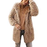 Damen Winterjacke Wintermantel Lang Jacke Teddy-Fleece Strickjacke Outwear Frauen Winter Warm Steppjacke Mantel Trenchcoat Mantel Coat
