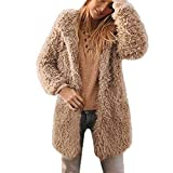 Cooljun Mäntel Damen, Mantel Winter Warm Revers Künstlich Wollmantel Jacke Parka Lose Faux Für Langarm Oberbekleidung Winterjacke Wintermantel Fleecejacke Übergangsjacke Wärmejacke (S, Khaki)