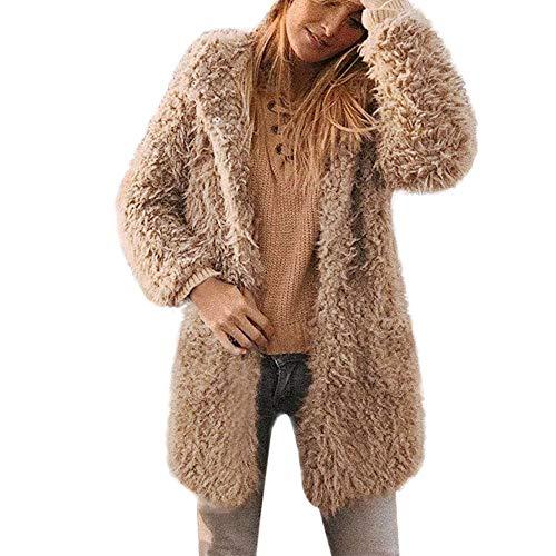 Ropa de Abrigo Lana Mujer Invierno,PAOLIAN Chaquetas de Cárdigans Largas Faux Fur Marrón otoño Señora...
