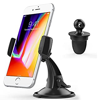 Cuxwill Car Phone Holder, Windscreen Dashboard or Air Vent 3-in-1 Car Phone Mount for iPhone X/8/7/6/6S and Other Smartphones