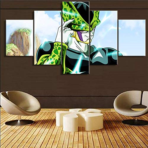 Impresiones en Lienzo 5 Piezas de Arte de Pintura Dragon Ball Personaje Célula HD Imagen Arte de la Pared Decoración del hogar para el Dormitorio Sala de Estar, A, 30x40x2 + 30x60x2 + 30x80x1cm
