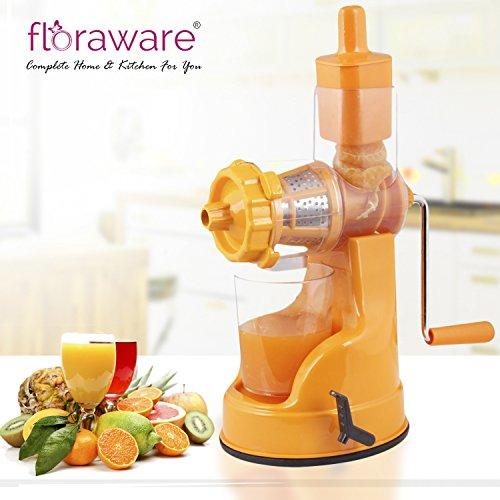 Floraware Plastic Fruit and Vegetable Juicer with Vacuum Locking System (Orange)