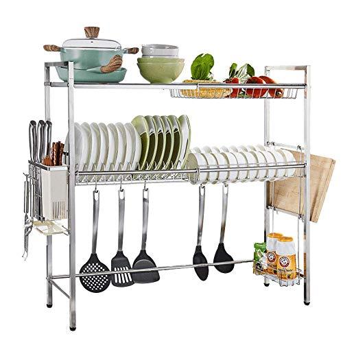 CHJIA Edelstahl Doppel Waschbecken Regal, Besteckablauf, Tragbare Mobile Regal Für Küche Lagerung 60/80 * 27 * 80C M (größe : 80cm)