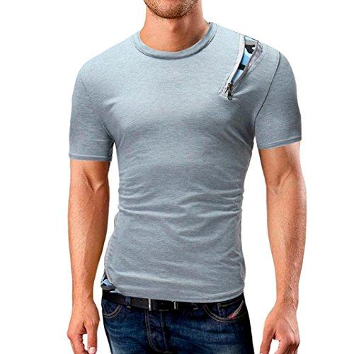 ASHOP Athletic Tank Top Sweatshirt für Männer, Herren Einfarbige Rundhals-Ausschnitt Kurzarm Fitness T-Shirt (M, Grau)