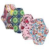 4er Set 25.5 cm Damenbinden waschbar Pads Menstruationstuch mit Bambusgewebe,Waschbare Wiederverwendbare Stoffbinden (Blumenmuster)
