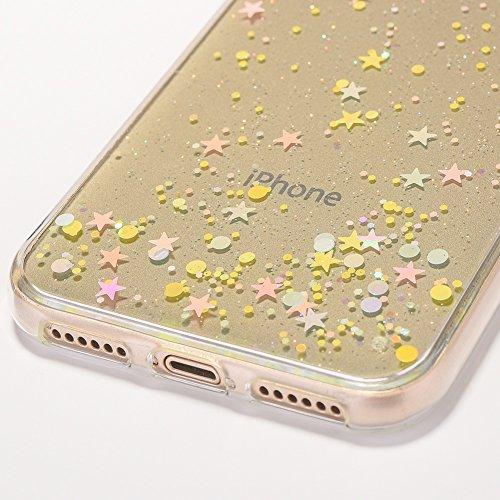 Coque pour iPhone X Silicone Paillette Etoile Housse Étui, Herzzer Liquid Crystal Ultra Mince TPU Case Bling Glitter Sparkle Flex Souple Skin Bumper Antichoc pour Apple iPhone X Noir Coloré Etoiles, Transparente