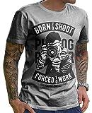 Stylotex Herren T-Shirt Basic Born to Shoot, Größe:S, Farbe:Heather