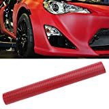 Autocollant de Voiture,Silence Shopping 3D Carbone Fibre Vinyl Car DIY Wrap Feuille Roll Film Autocollant Autocollant Couleur Rouge 127X30cm