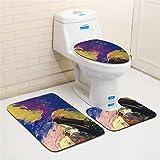 ZDDT 3 Piezas de Color Clásico Estera de Baño Conjunto de Pintura Al Óleo Creativa Antideslizante Alfombra de Baño Alfombra de Baño Moderna y Juegos de Estera del Aseo, H