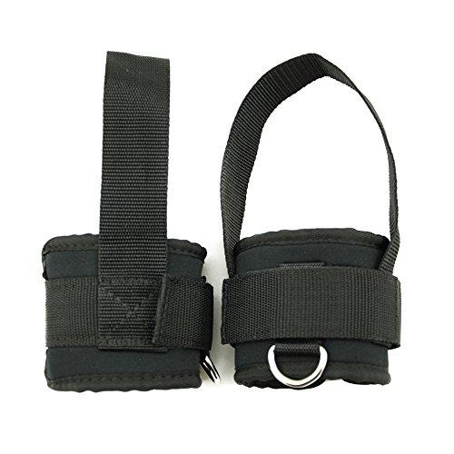grofitness ejercicio máquina fijación tobillera ajustable correas de tobillo pierna el entrenamiento equipo de gimnasio y bodybuilding, 1 par (negro)