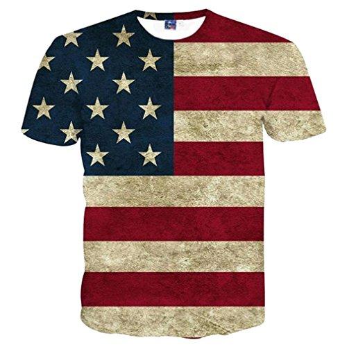 American Flag Sweatshirt (USA-Flagge T-Shirt Männer/Frauen sexy 3D-Tshirt Drucken gestreifte American Flag Men T-Shirt Sommer Tops T-Stücke TH 1703 Asien L)