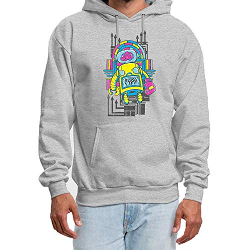 HUIYIYANG Tees Men's Hoodie Sweatshirt,Vintage Retro Toy Robot - Funny  Robotics - Classic Long Sleeve Pullover Hooded Sweatshirt XXL Gray