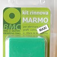 kit rinnova MARMO MAXI per eliminare opacità, graffi, corrosioni, incrostazioni di calcare e rifare la lucidatura su piani cucina, bagno e pavimenti in marmo; MAGGIORATO con 100 GR di polvere lucidante in più