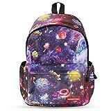 Galaxy School Backpack,Cool Unisex Canvas Backpack Anime Luminous Backpack Daypack Shoulder School Bag Laptop Bag (Blue)