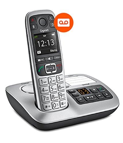 Gigaset E560A PLUS Schnurlostelefon + Freisprech-Clip mit SOS-Funktion - Hausnotruf - Anrufbeantworter / Grosse Tasten Telefon - platin - 3